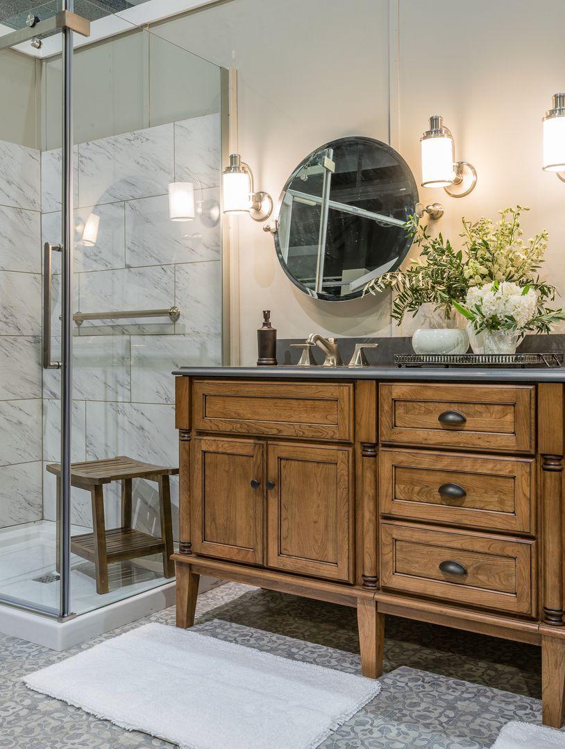 Bathroom design. Glass shower door. Corner shower with