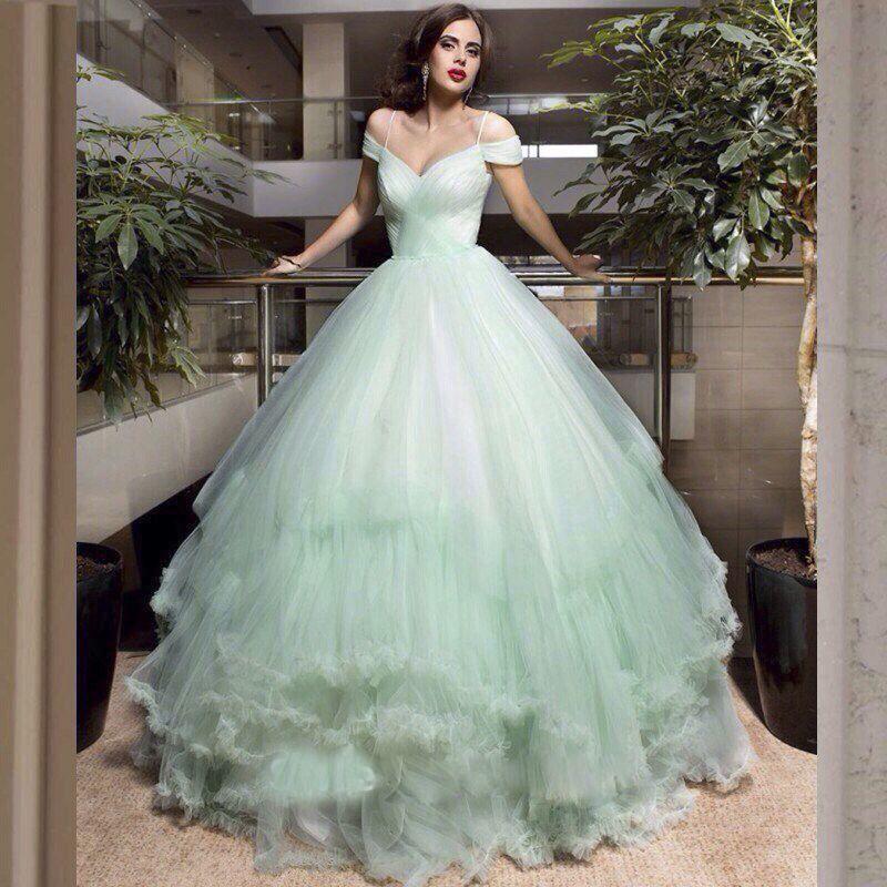 custom made romantic light green Wedding Dresses 2017 cap sleeve ...