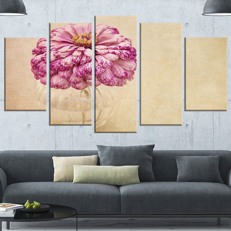 Design Art Pink Flower In Vase Watercolor Floral Canvas Art Print