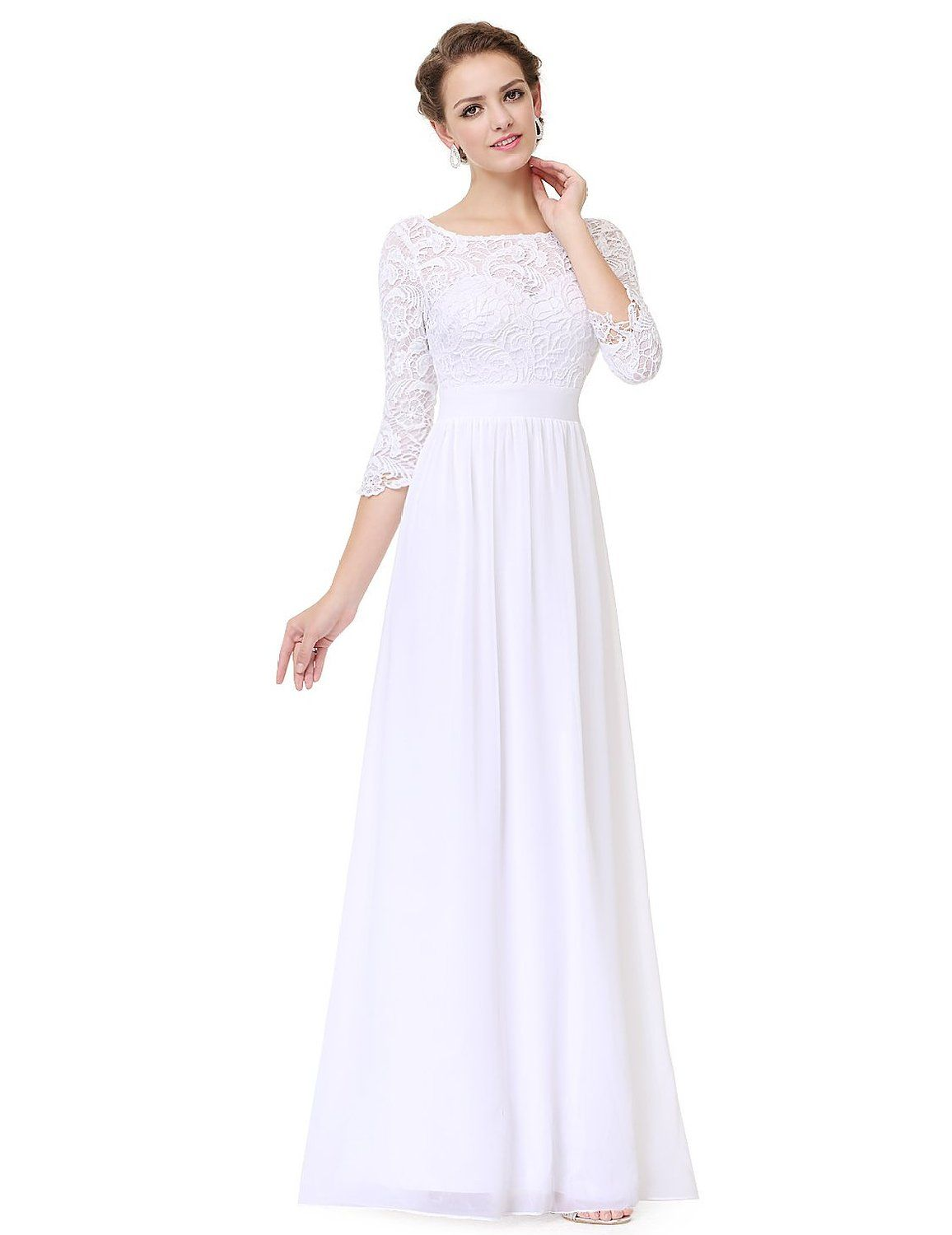 320a3f19 Ever Pretty Women's Lace Long Sleeve Floor Length Evening Dress 08412:  Amazon Fashion