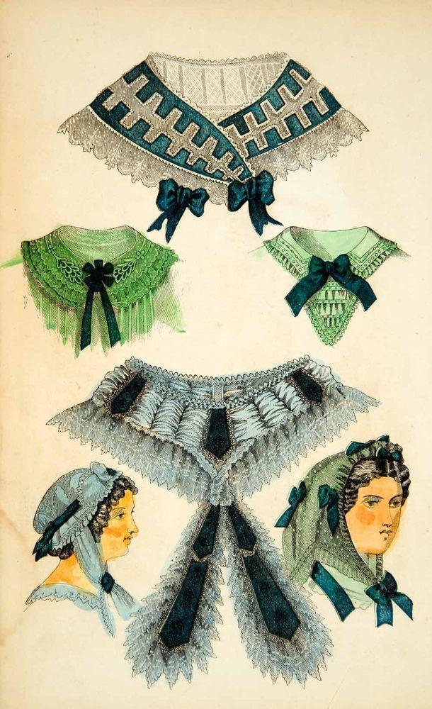 1862 Wood Engraving Victorian Dress Fashion Fichu Collar Bertha Breakfast YGLB1…
