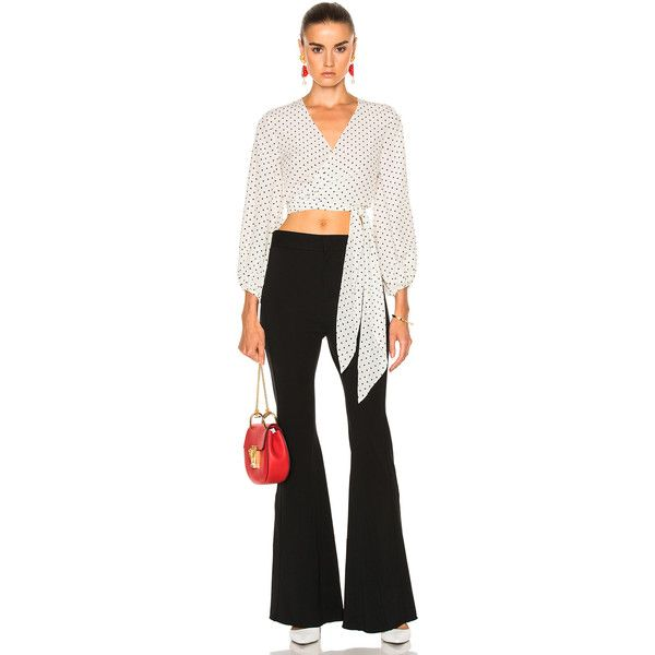 Alexis Nirav Top (407 CAD) ❤ liked on Polyvore featuring tops, blouses, wrap blouse, wrap around blouse, alexis top, wrap around top and sleeve blouse