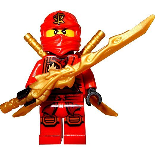 lego ninjago minifigur kai roter ninja mit drachenschwert und 2 katanas schwert lego. Black Bedroom Furniture Sets. Home Design Ideas