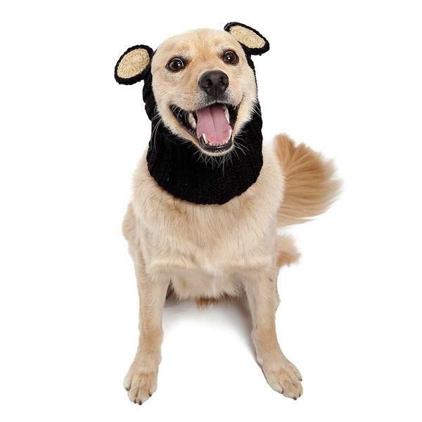 Knit Black Bear Dog Snood Hat Costume