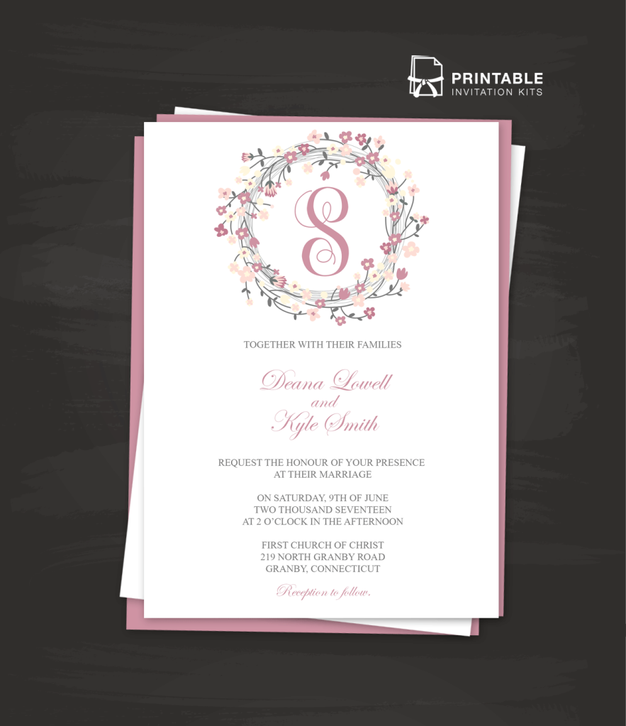 FREE PDF DOWNLOAD Floral Wreath Logo Invitation Templ