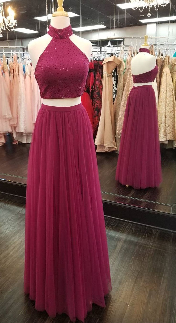 Two piece high neck burgundy long prom dress with slit prom
