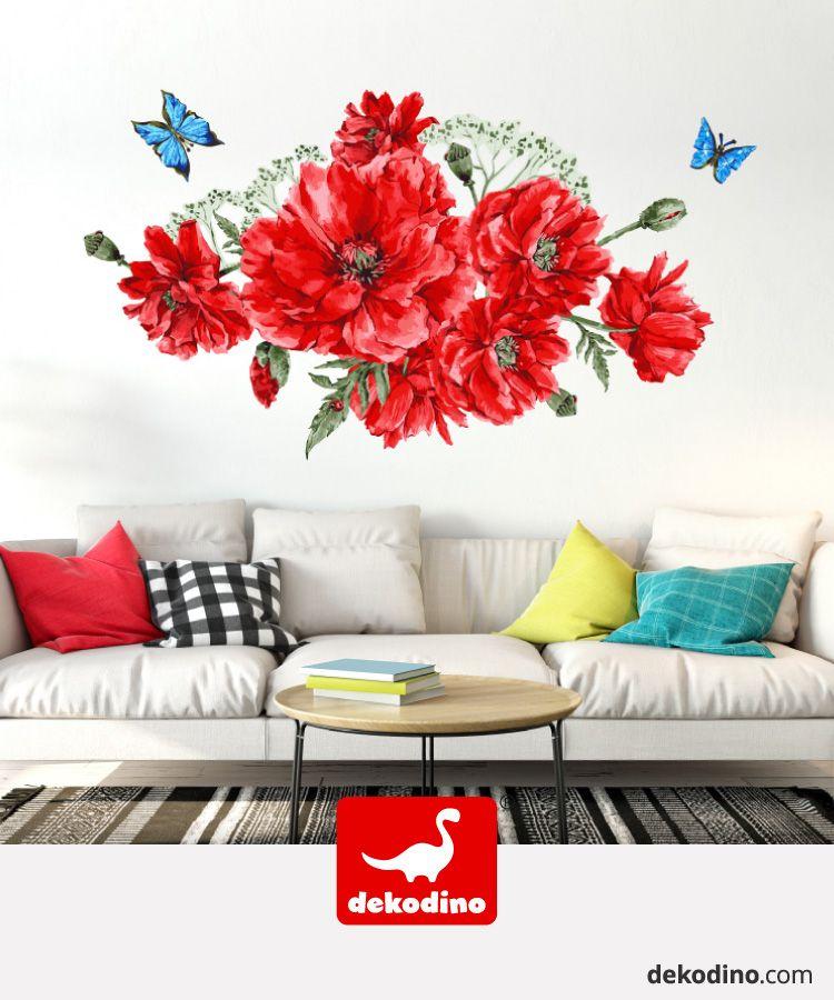 Wandtattoo Blumen Aquarell Blumenwiese Rot Wandsticker Deko In 2020 Wandtattoo Blumen Wandtattoo Wandsticker