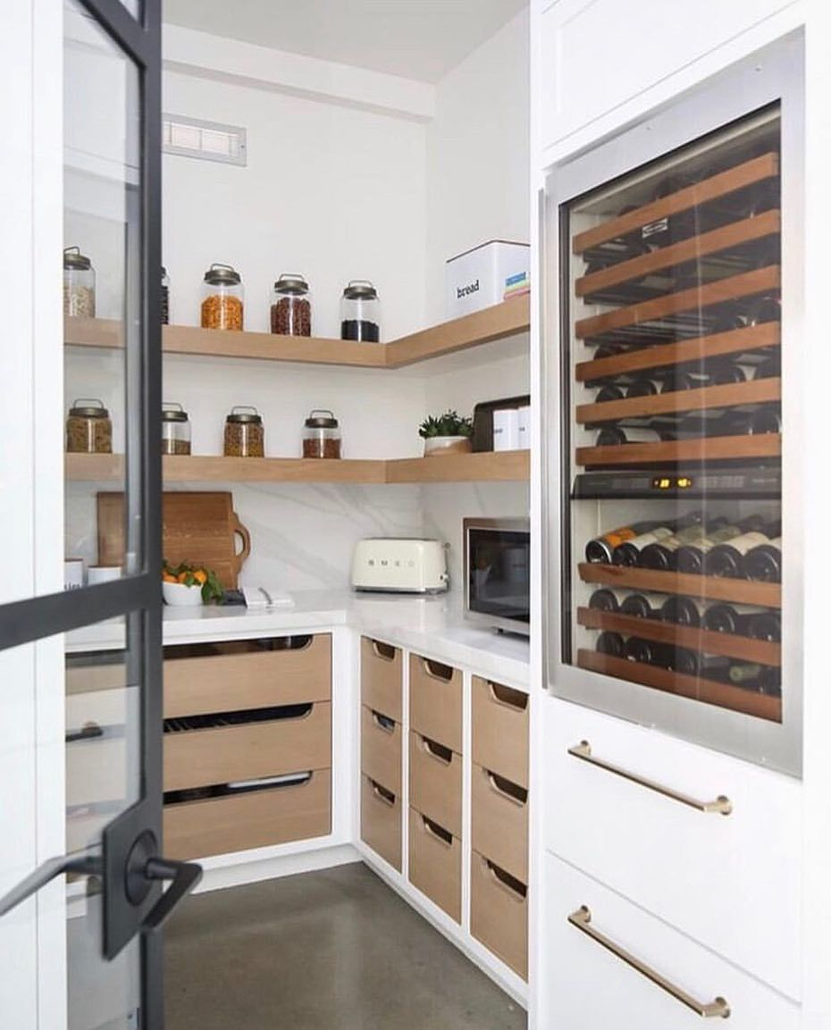 Modern Pantry With Open Wood Shelving Plenty Of Storage And A Built In Wine Cooler Pantry Design Kitchen Pantry Design Home Kitchens