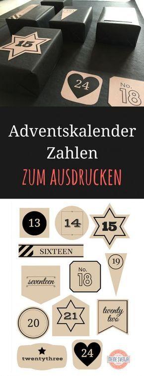 Adventskalender Zahlen zum Ausdrucken #calendrierdelaventdiy