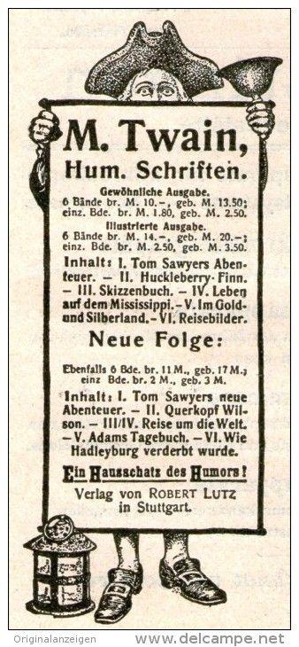 Original-Werbung/Anzeige 1909 - MARK TWAIN / MOTIV NACHTWÄCHTER ...