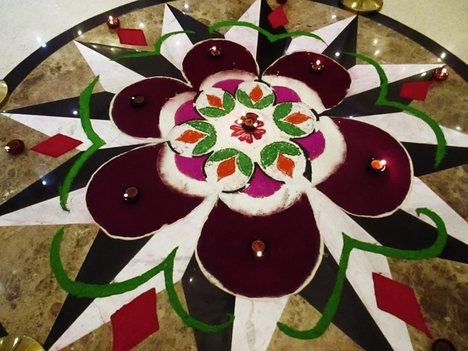 Rangoli for Diwali in the lobby proudly made by staffs of Palms Hotel and Crystal Cove Beauty Salon
