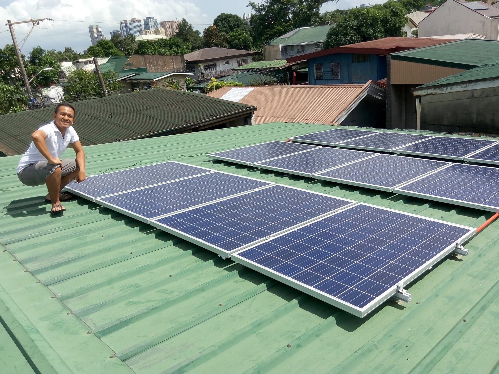 The installation of solar power energy producing device is