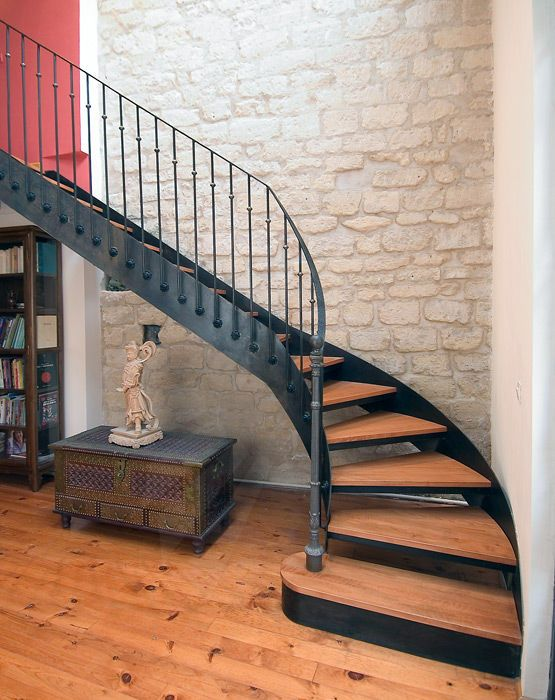 Escalier Quart Tournant Marche En Bois Structure Metallique