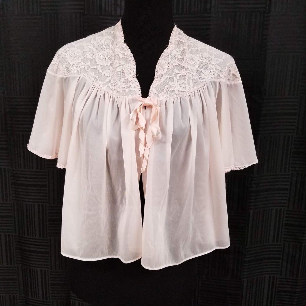Vintage s Vanity Fair Bed Jacket S Pink Nylon Bell Sleeves