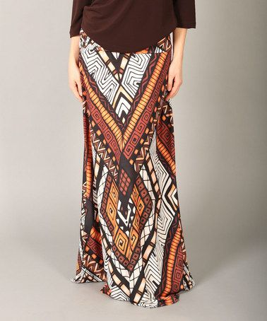 Another great find on #zulily! Brown & White Geometric Maxi Skirt by Lbisse #zulilyfinds