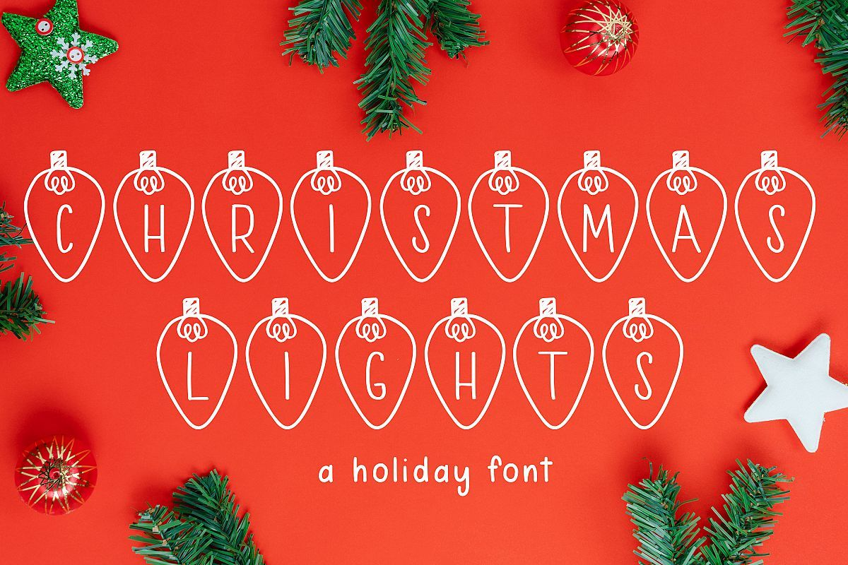 Christmas Lights 300326 Regular Font Bundles Holiday Fonts Christmas Fonts Christmas Lights