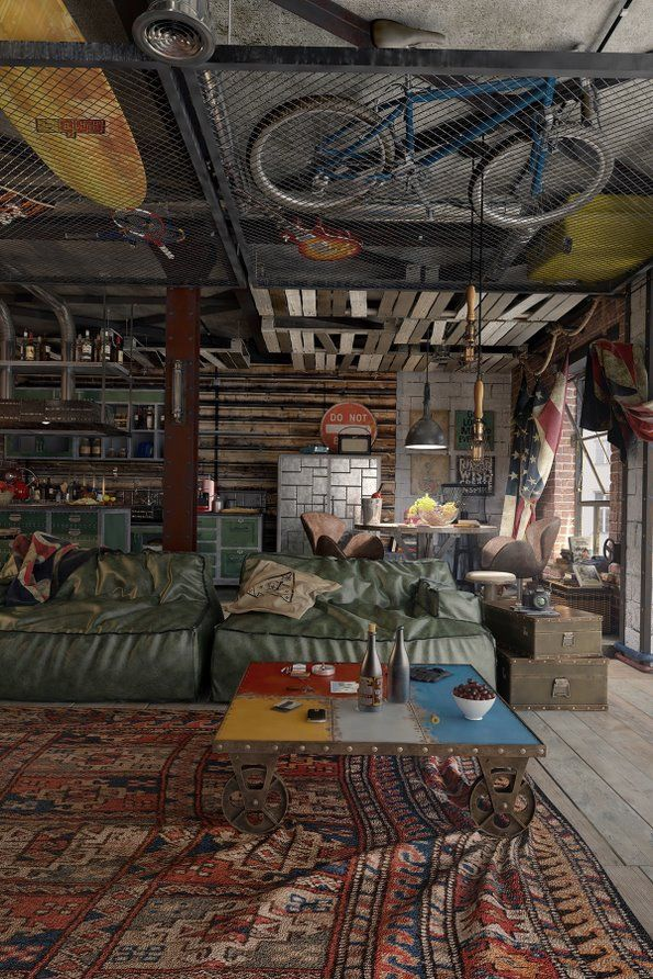 apartment design im industriellen stil loft, relaxing recreational room ideas & pictures #interior design #ideas, Design ideen
