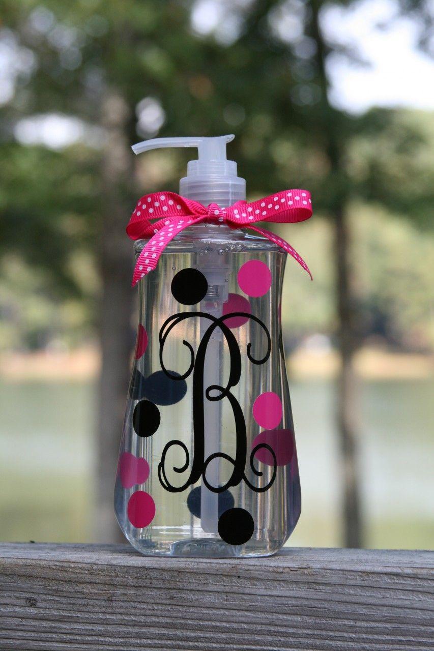monogrammed polka dot liquid soap dispenser http