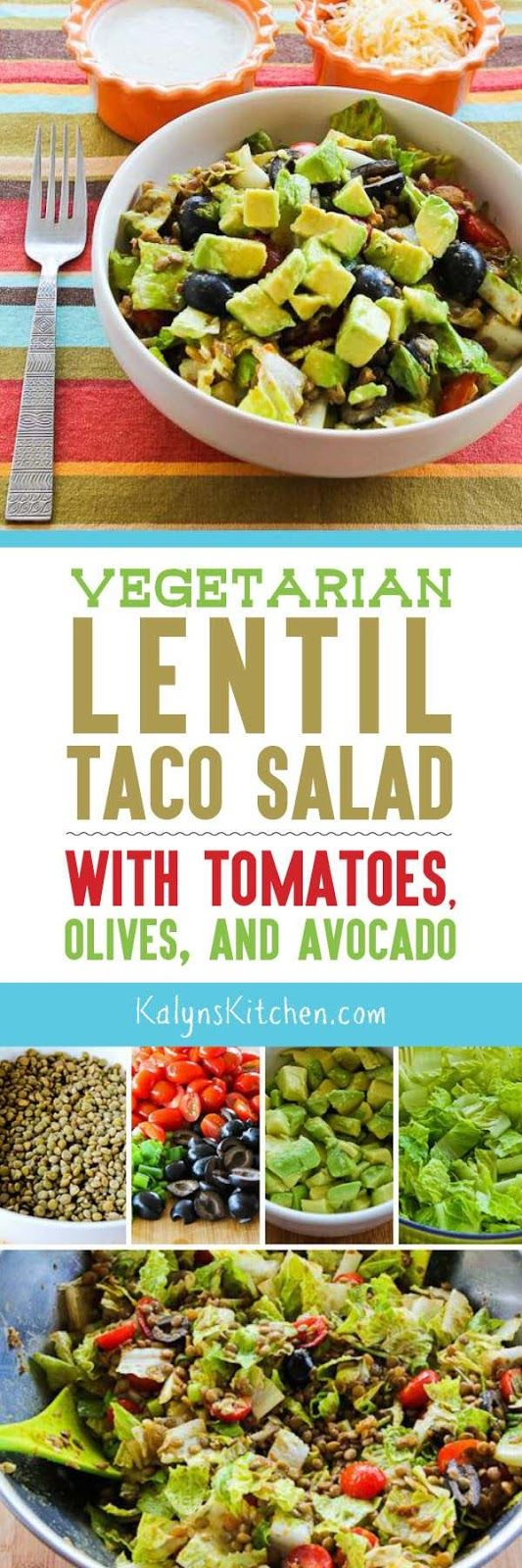 This  Vegetarian Lentil Taco Salad with Tomatoes, Olive, and Avocado is delicious for a meatless meal that's low-glycemic, gluten-free, and South Beach Diet friendly! [found on KalynsKitchen.com]