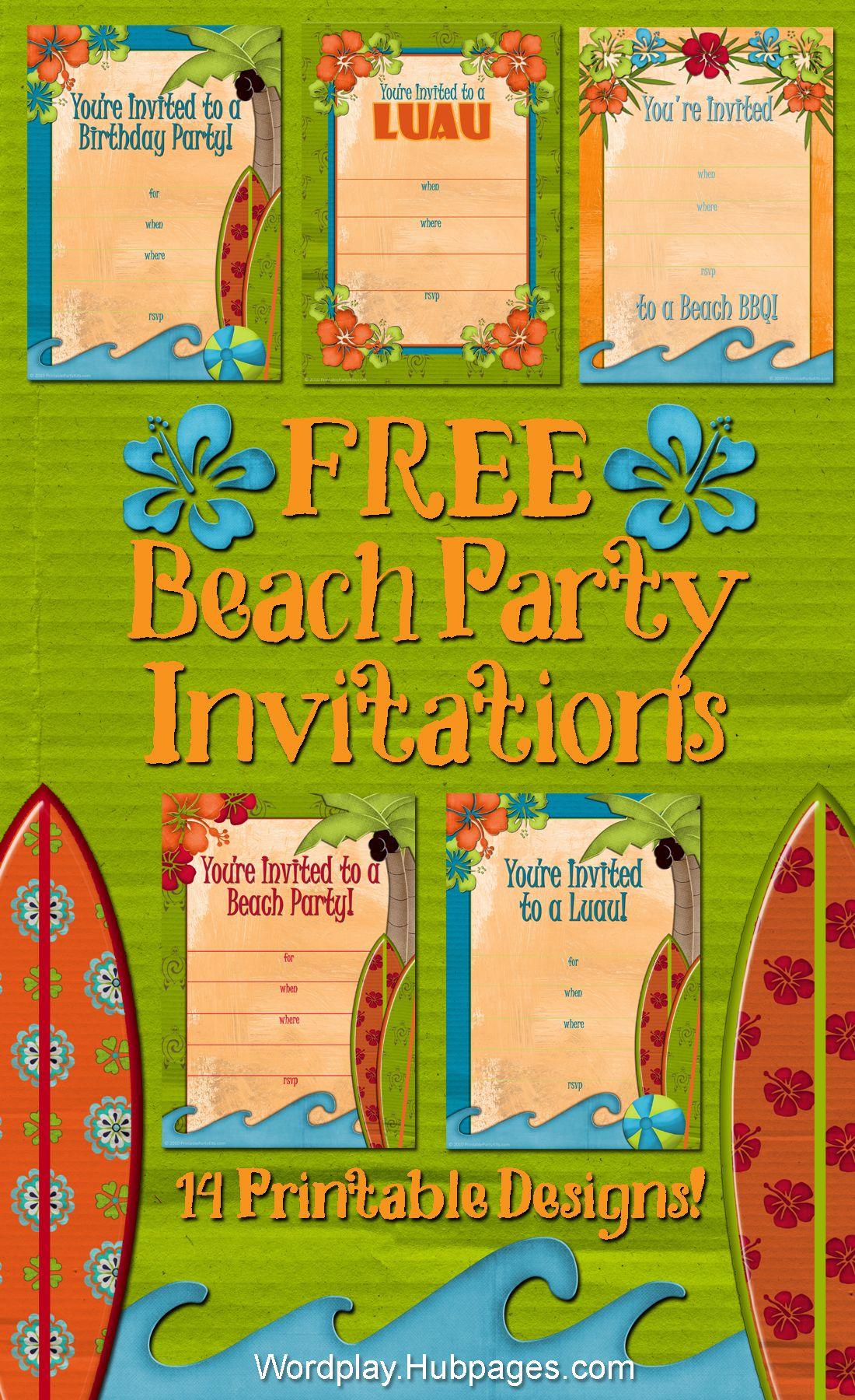 Free Printable Beach Party Luau And Bbq Invitations Templates
