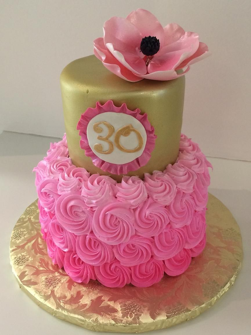 Super 30Th Birthday Cake Pink Rosettes Gold Magnolia Gallery Funny Birthday Cards Online Alyptdamsfinfo