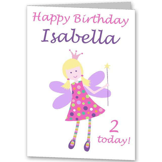 Girls Fairy Personalised Birthday Card 275 – Personalised Birthday Cards for Kids