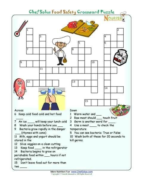 Printable Nutrition Crossword Puzzle Food Safety Food Groups