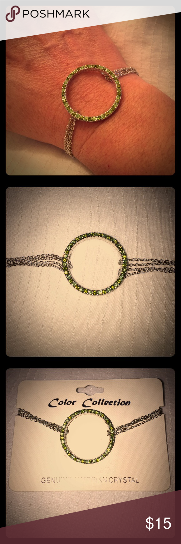 💚Genuine Australian Chrystal Bracelet💚 🌟This is a new gorgeous crystal circle trendy bracelet! It has a toggle clasp to make it easier to put on by yourself. I only took it out of the original Packaging to model and take pics. It will come packaged in a gorgeous jwerely bag! Price is firm but I offer a bundle discount of 15% on two or more items. Happy Poshing 🌺 Haiaccessories Jewelry Bracelets