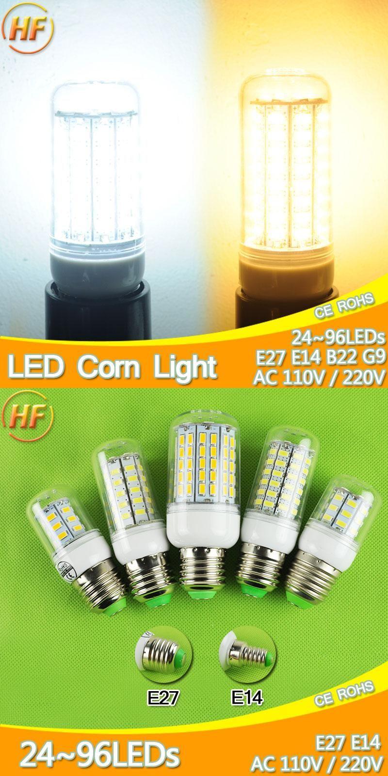 Visit To Buy 220v 110v 7w 30w Lampada Led E14 E27 Led Lamp Led Corn Bulb Light 9w 12w 15w 18w 20w Led Lampara Bombilla Ampoule 127v Light Bulb Led Lamp