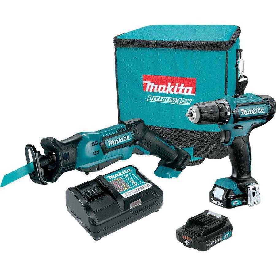 Makita 12v Max Cxt Lithium Ion Cordless Recipro Saw Drill Driver Combo Kit Cxt Lithium Ion Combo Kit Makita Drill Driver