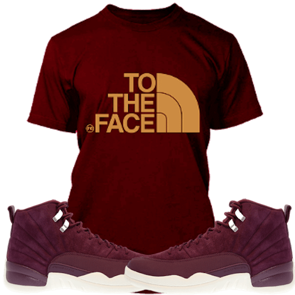 866cdae6710 Jordan Retro 12 Bordeaux Sneaker Tee Shirt to match made by Planet Grapes  Clothing. Shirt is made out of pre-shrunk cotton and fits true to size.