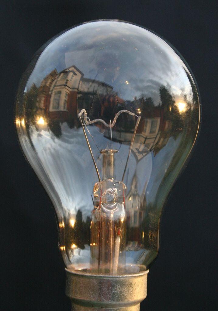 Lightbulb at sundown