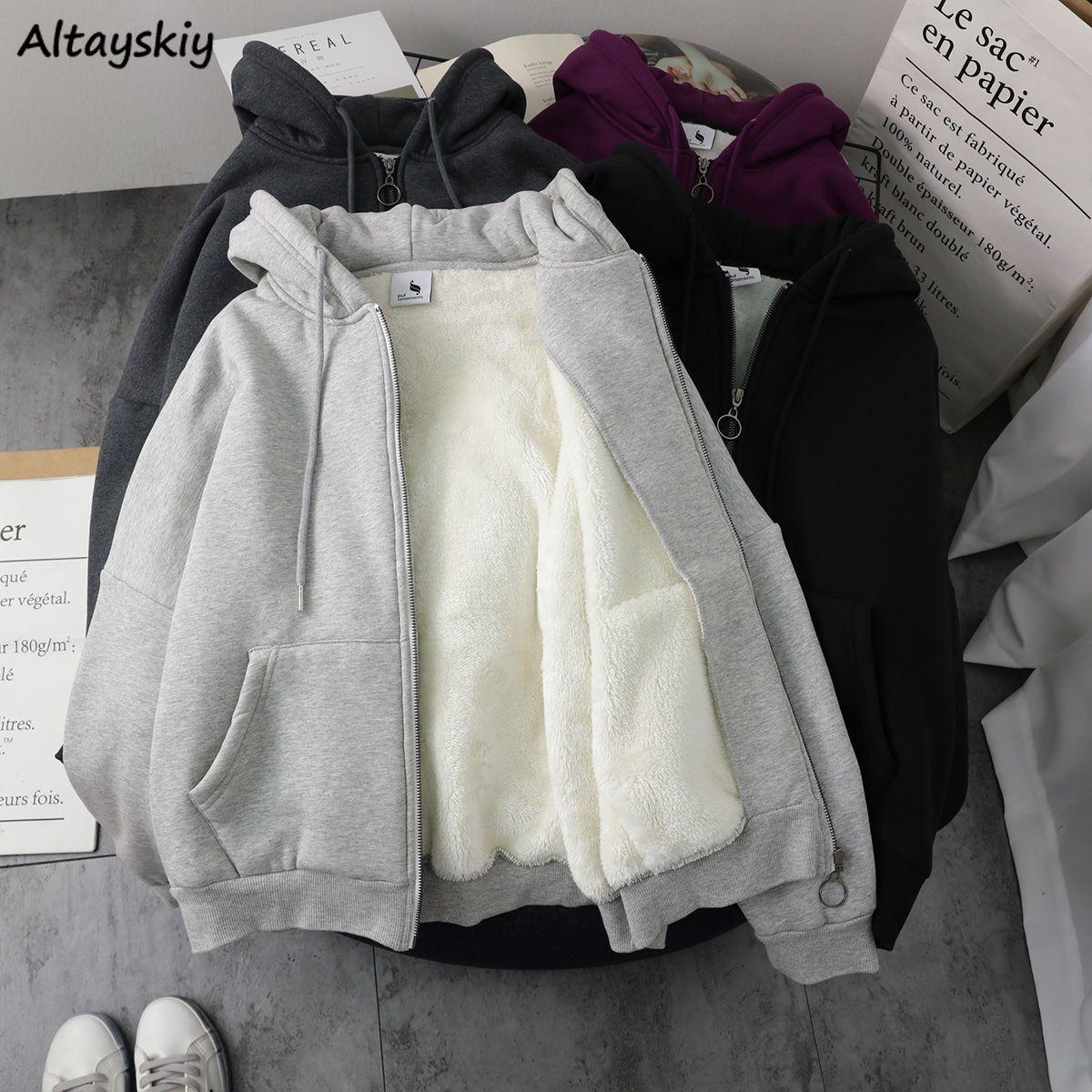 12.78US $ 5% OFF|Mit Hut Hoodies Frauen Dicker Winter Warme Weiche Einfache Grund Zip up Teens Oberbekleidung Hoodie Koreanische Beliebte Trendy Damen kleidung|Hoodies & Sweatshirts|   – AliExpress – Giyim vs.