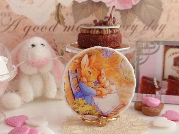 Mrs Rabbit & Family Plate for Dollhouse by Twelvetimesmoreteeny
