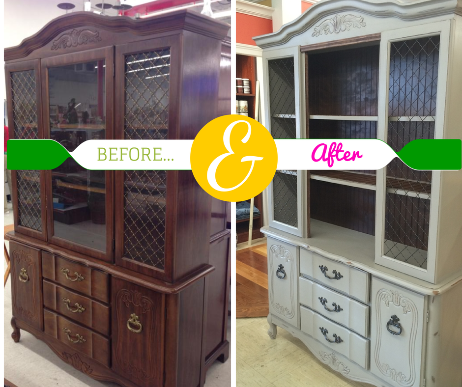 Thanks to Linda Crandall with http://helloilivehere.com for updating this fantastic china cabinet for our store! Cottage Paint can do wonders on your favorite old furniture!