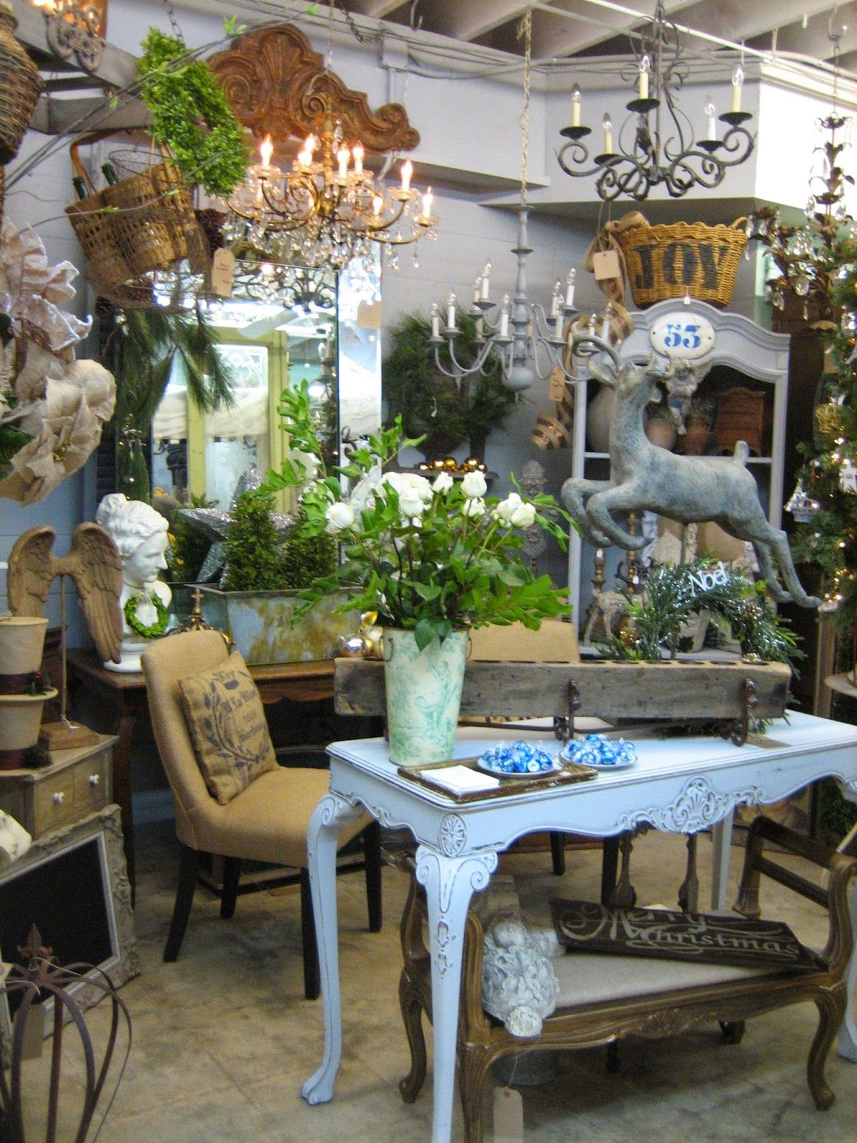 This upscale shop carries antique French furniture & garden decorations.  Located just 6 miles from downtown San Diego in the Ocean Beach Antique  District - Rue 27 Maison...Linda Ervin...Christmas At Vignettes Antiques