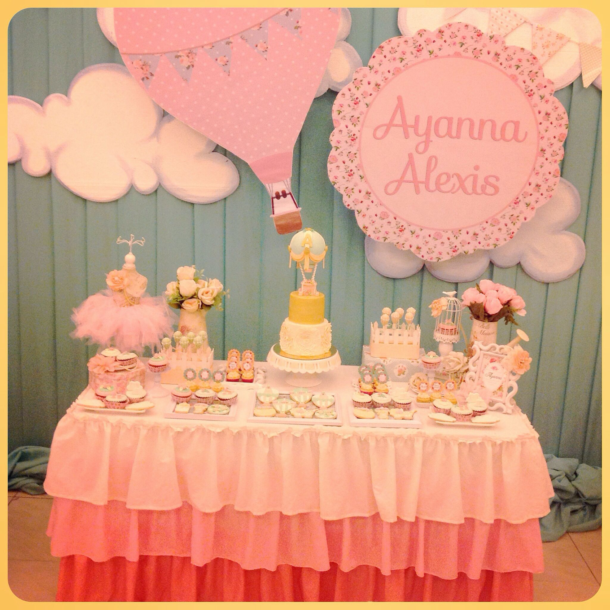 shabby chic hot airballoon dessert table set-up, cake, cupcakes