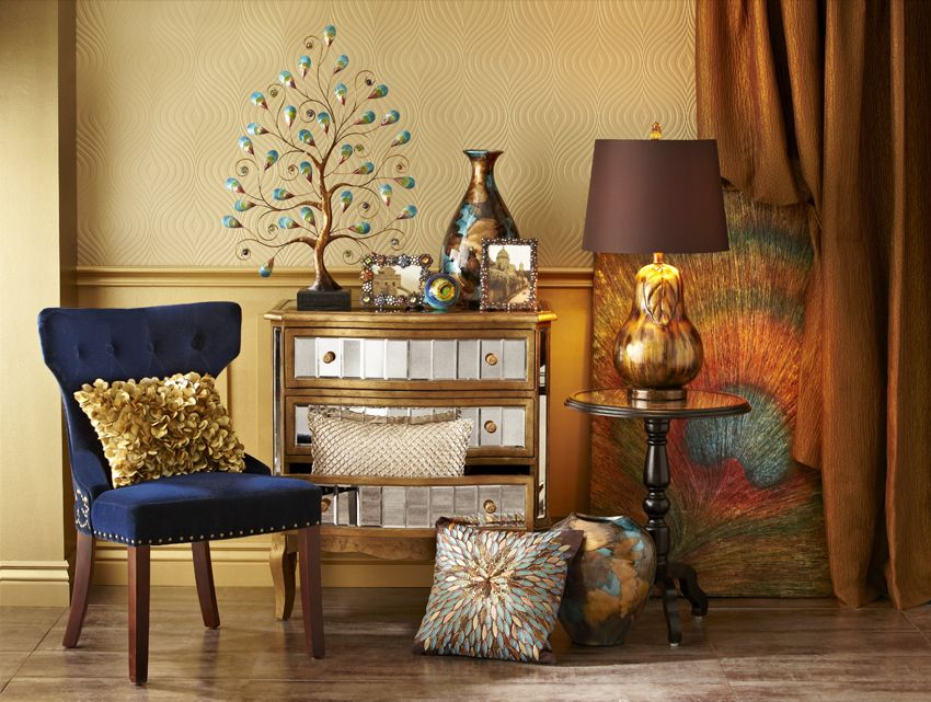 Peacock glitz and glam featuring Pier 1 Crisanto Hall ...