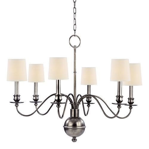 Hudson valley cohasset aged silver six light chandelier with cream hudson valley cohasset aged silver six light chandelier with cream eco paper on sale aloadofball Image collections