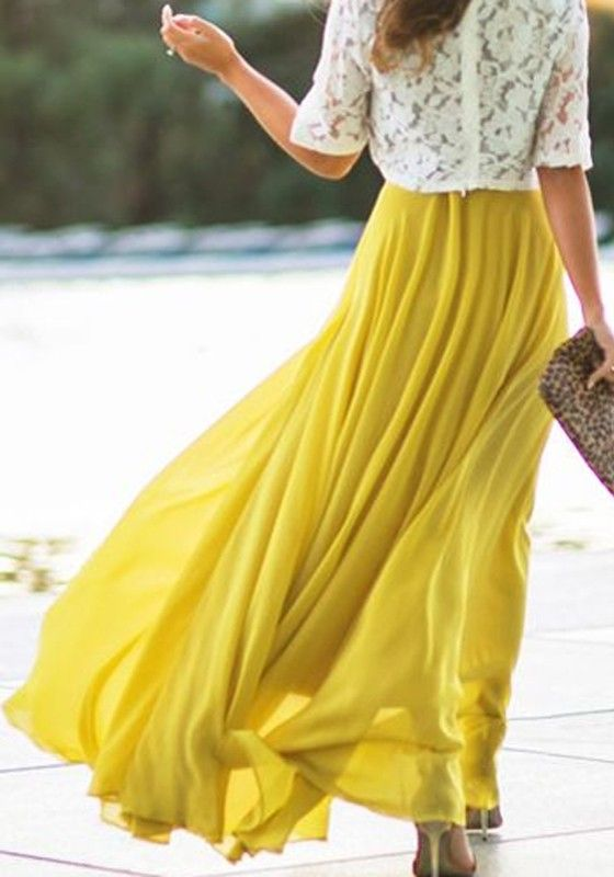 b1a9a4506a Yellow Plain Pleated A Type Loose Chiffon Bohemian Maxi Skirt - Skirts -  Bottoms