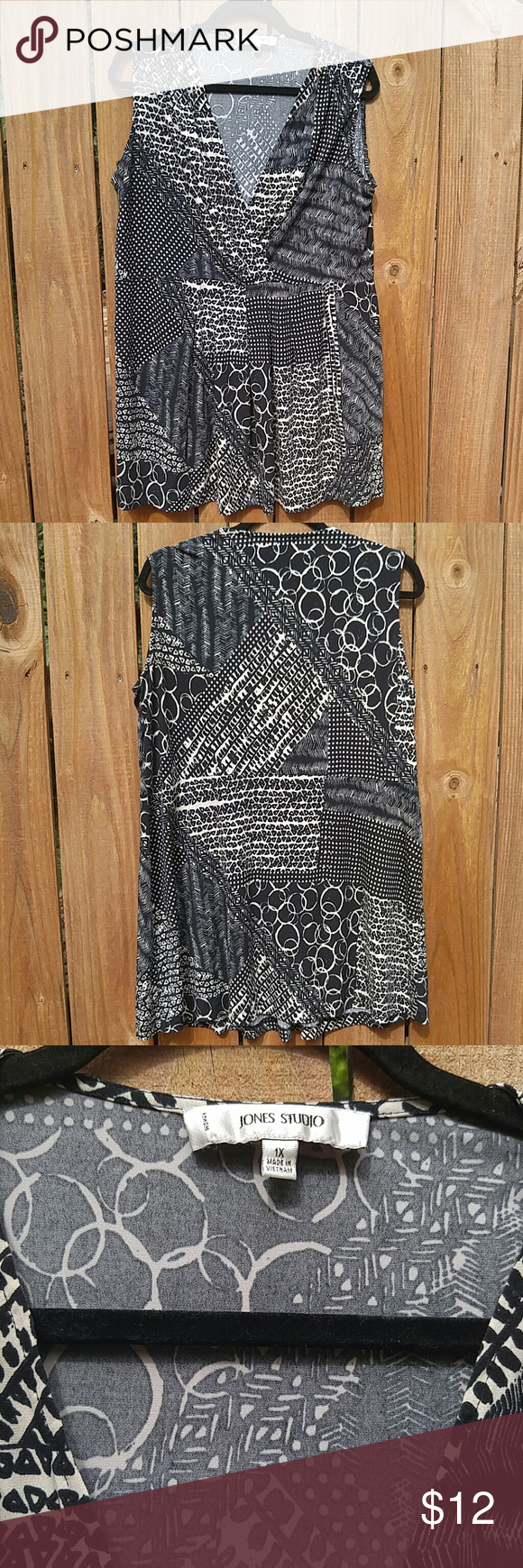 Black and Cream Abstract Sleeveless Top Unique and stylish, this blouse features a mix of abstract designs in black and cream.  Has small gathers at the shoulders, a draped deep v-neck, and an almost empire style waist.  Size 1X, but very stretchy polyester spandex blend ( might even work for 2X). Excellent pre-owned condition.   Extremely flattering and great for pairing with cardigans or blazers and a statement necklace. Jones Studio Tops Blouses