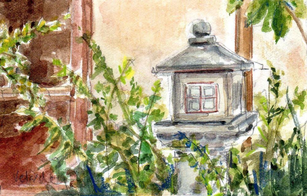 Original watercolor Japanese Friendship Garden, San Diego