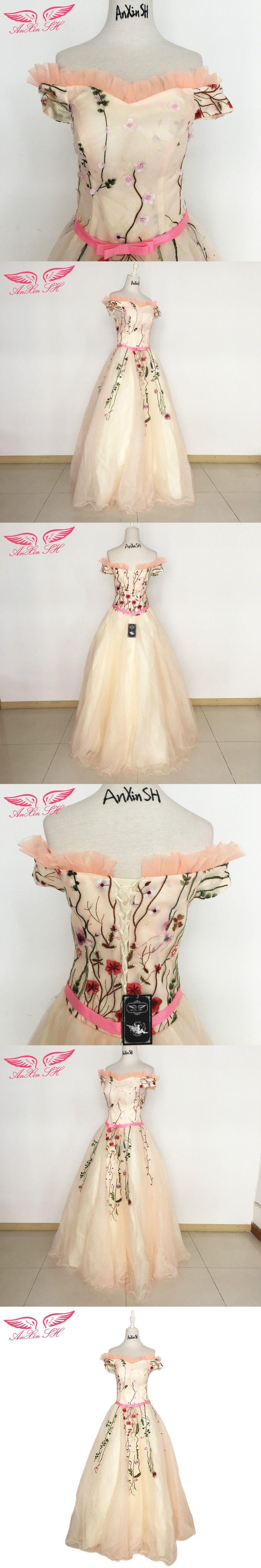 Anxin sh pink flower lace evening dress ruffles boat neck turkey