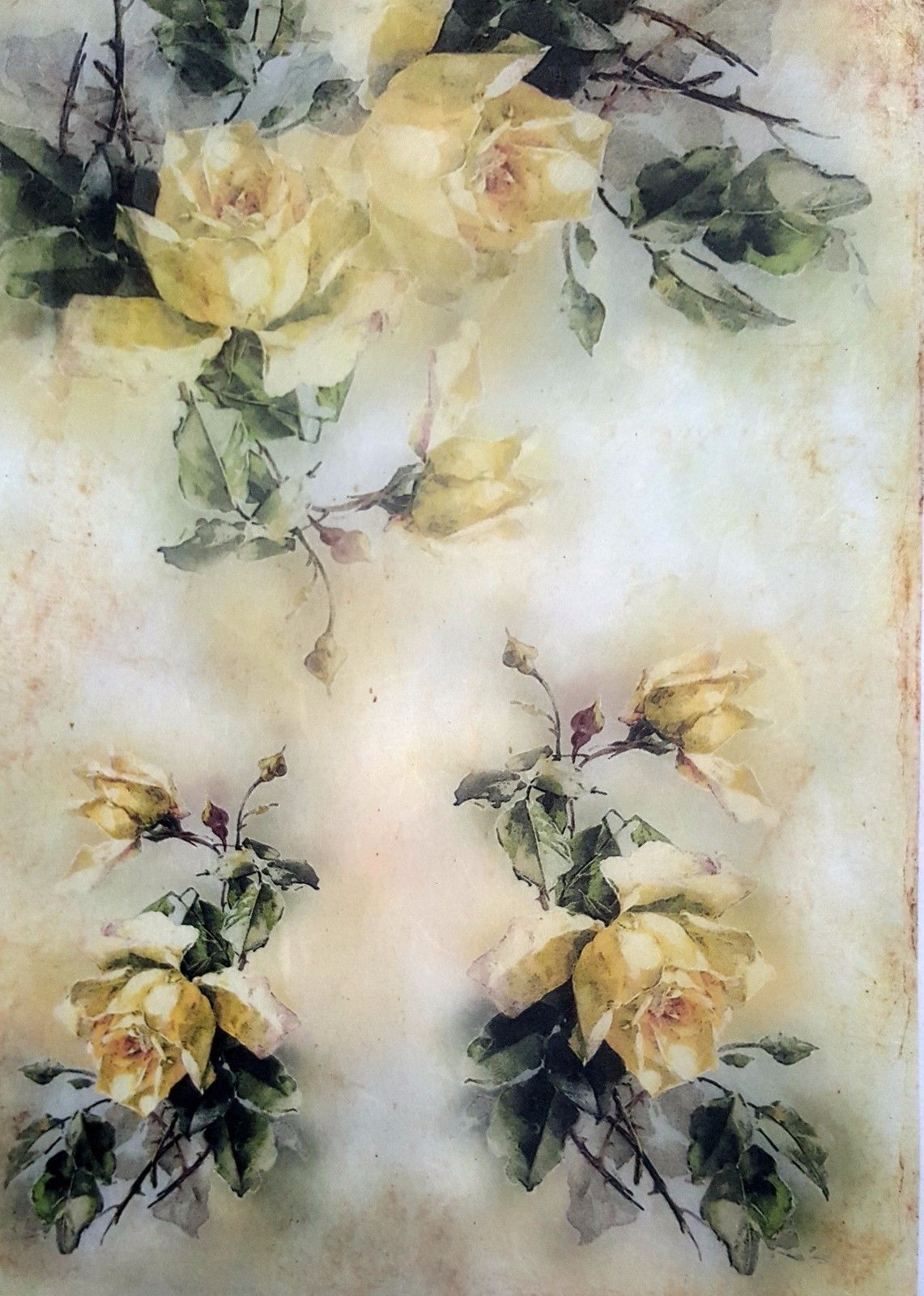 Rice Paper For Decoupage Sheet Scrapbooking A4 Yellow