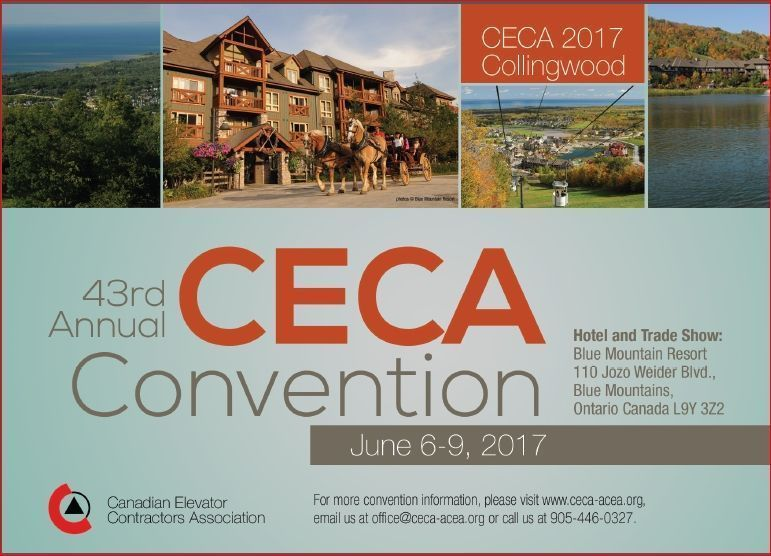 CECA's 43rd Annual Convention is taking place on June 6-9 at the Blue Mountain Resort in Ontario, Canada. http://buff.ly/2h2ho7u #CECA #Canada #Elevator #Lift