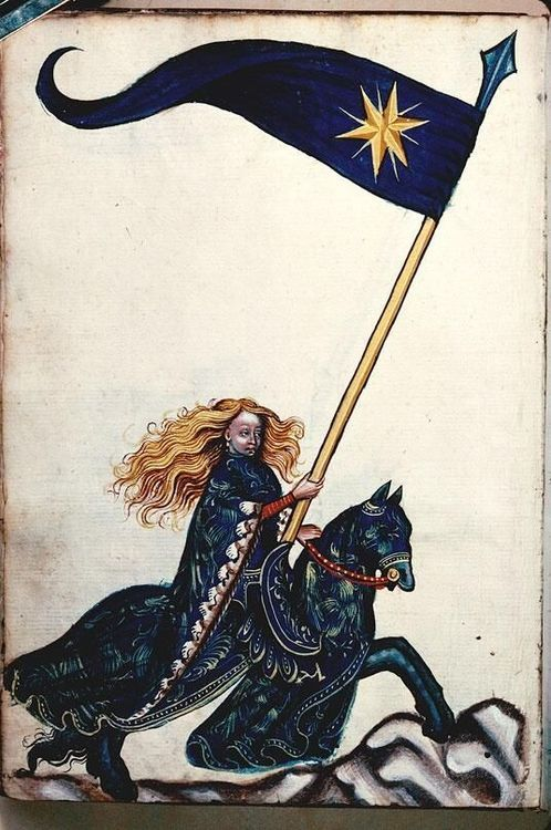 Female standard bearer, Besançon BM MS 1360, Konrad Kyeser's Bellifortis, 15thC German