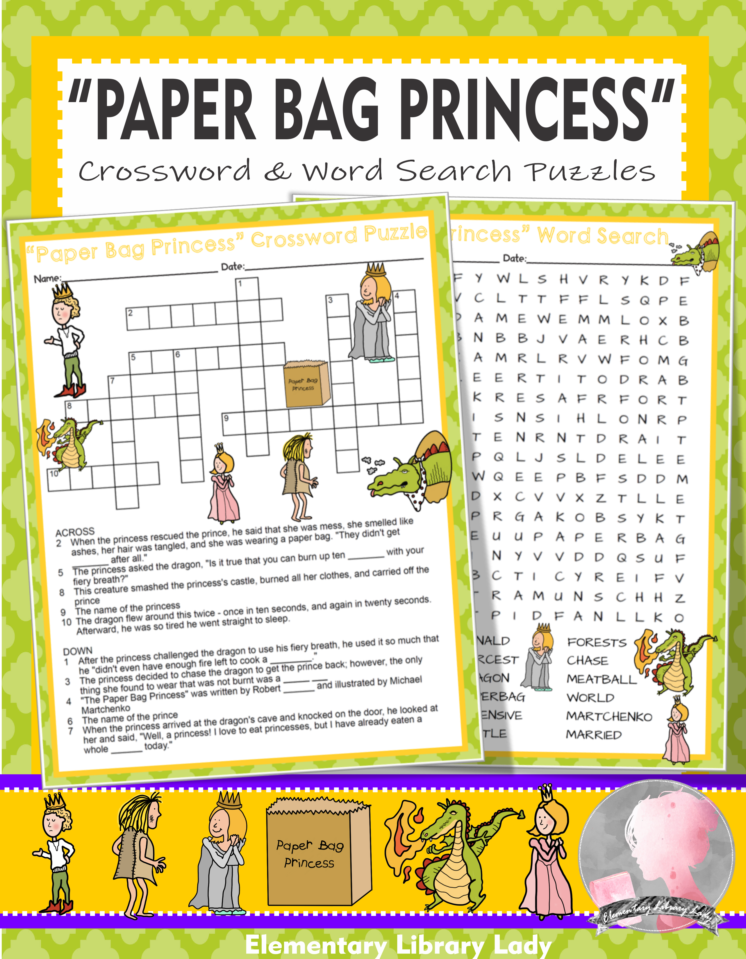 Paper Bag Princess Activities Robert Munsch Crossword Puzzle Word Search Paper Bag Princess Teaching Elementary Princess Activities [ 3298 x 2566 Pixel ]