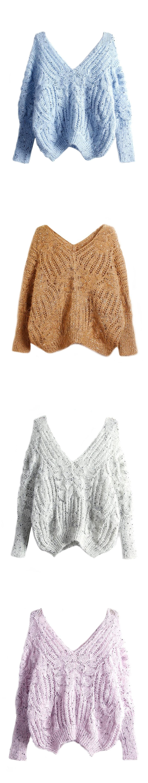 Joeoy Women\'s V Neck Hollow Out Crochet Knit Batwing Sweater Jumper ...