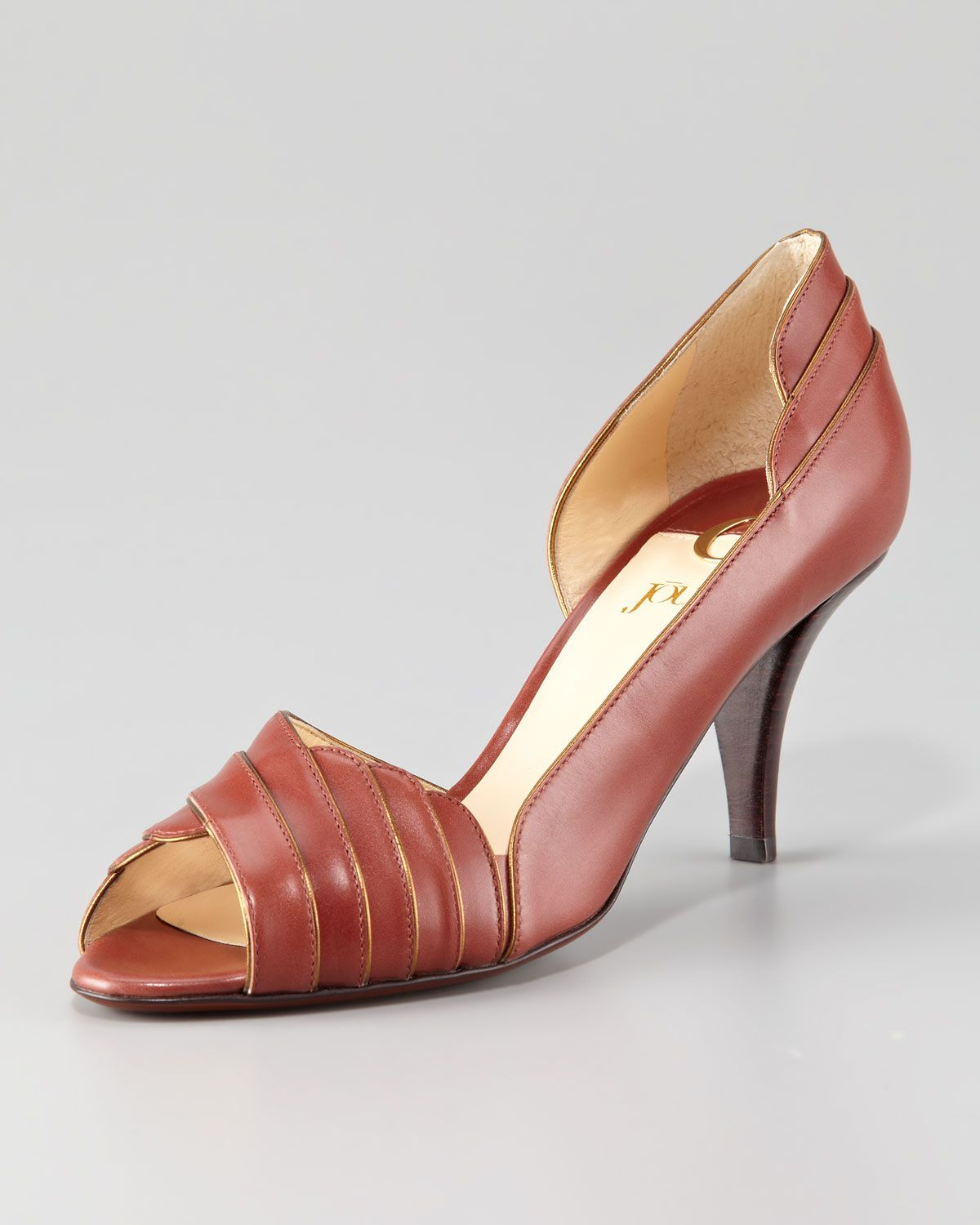 O Jour Leather Peep-Toe Pumps cheap sale low price M5upVn89k