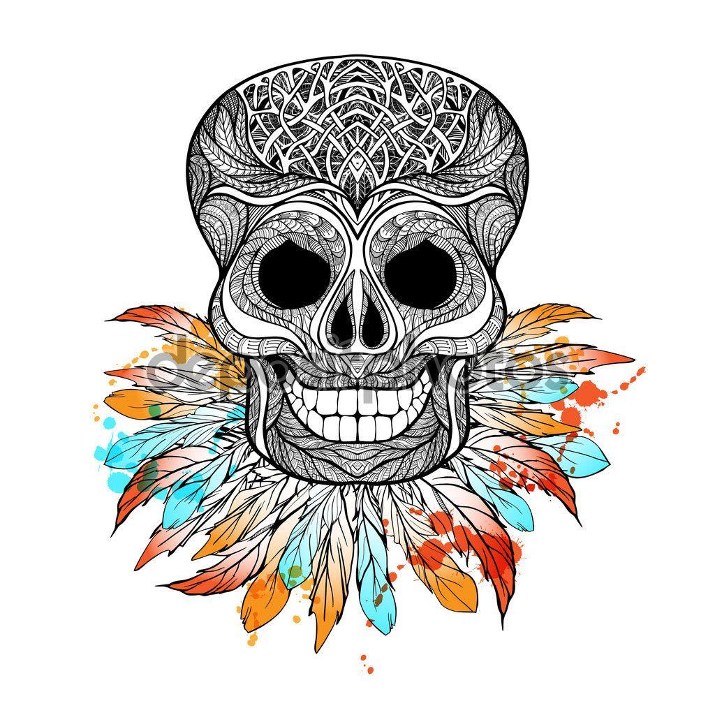 Tribal lebka s peřím — Stocková ilustrace #85505948